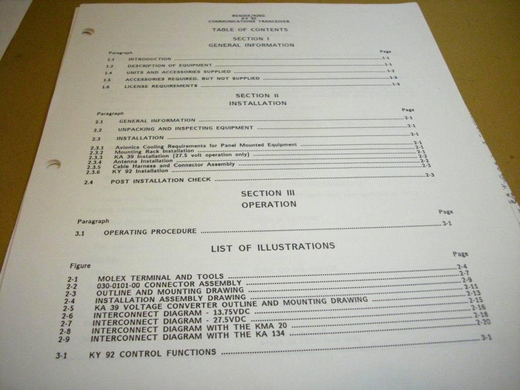 King KY 92 Com Install Manual