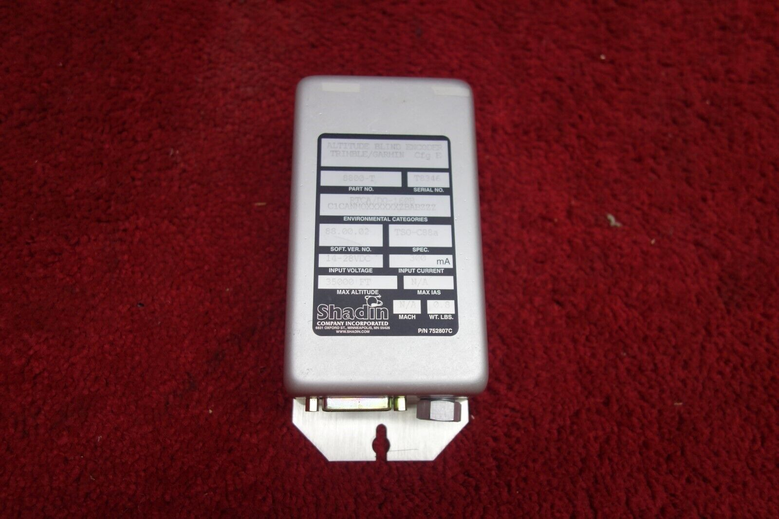 Shadin, Trimble, Garmin 752807C Altitude Blind Encoder PN 8800-T